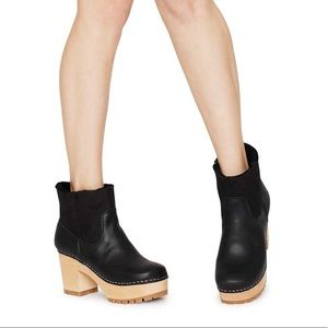 Swedish Hasbeens Plateau clog boots black 36
